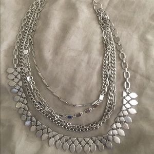 Stella and Dot silver statement necklace